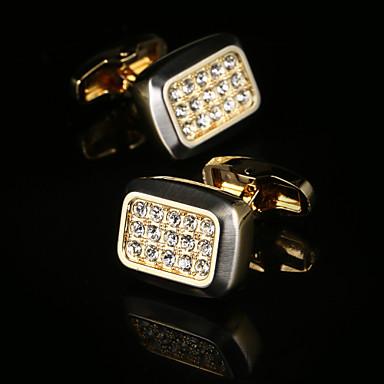 Geometrische Form Quadratischer Schnitt Golden Manschettenknöpfe Modisch Geschenkboxen & Taschen Herrn Modeschmuck