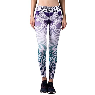 BARBOK Women's Yoga Pants Sports Fashion, Floral / Botanical Spandex Tights / Leggings Running, Fitness, Gym Activewear Stretchy Stretchy