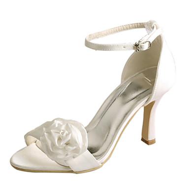 Női Cipő Streccs szatén Nyár Magasított talpú Esküvői cipők Tűsarok Lábujj nélküli Szatén virág Rózsaszín / Kristály / Party és Estélyi