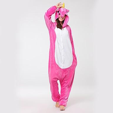Adults' Kigurumi Pajamas Unicorn / Flying Horse Onesie Pajamas Costume Flannel Fabric Pink Cosplay For Animal Sleepwear Cartoon Halloween Festival / Holiday / Christmas