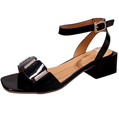 Damen Schuhe PU Sommer Komfort Sandalen Walking Blockabsatz Offene Spitze für Normal Weiß Schwarz