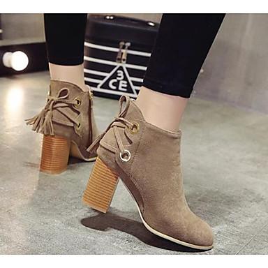 Damen Schuhe Leder PU Winter Komfort Modische Stiefel Springerstiefel Stiefel für Normal Schwarz Khaki