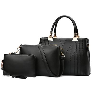 للنساء أكياس كل الفصول نوع جلد آخر مجموعات حقيبة 3 قطع محفظة مجموعة إلى فضفاض أسود أحمر رمادي