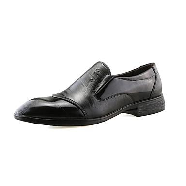 Herrn Schuhe Leder PU Frühling Herbst Komfort Leuchtende Sohlen formale Schuhe Outdoor für Normal Büro & Karriere Schwarz