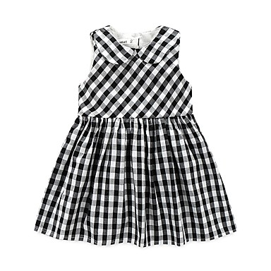 Baby Girl's Plaid/Check Dress, Cotton Polyester Taffeta Summer Check Sleeveless Navy Blue