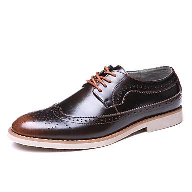 Herrn Schuhe Leder Frühling Herbst formale Schuhe Komfort Outdoor Walking Schnürsenkel für Hochzeit Normal Party & Festivität Braun Rot