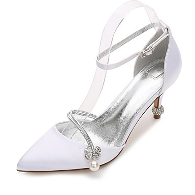 Women's Shoes Satin Spring / Summer Ankle Strap / Basic Pump / D'Orsay & Two-Piece Wedding Shoes Cone Heel / Low Heel / Stiletto Heel