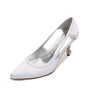 Women's Satin Spring / Summer Comfort / D'Orsay & Two-Piece / Basic Pump Wedding Shoes Kitten Heel / Cone Heel / Low Heel Pointed Toe Hollow-out Blue / Champagne / Ivory / Party & Evening