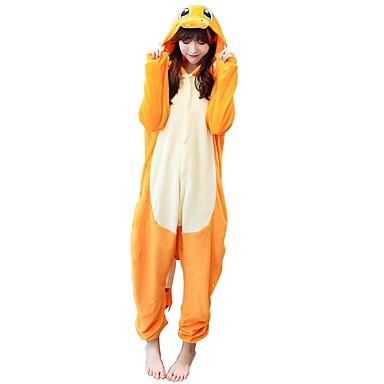 Adults' Kigurumi Pajamas Dragon Onesie Pajamas Costume Flannelette Yellow Cosplay For Animal Sleepwear Cartoon Halloween Festival / Holiday / Christmas