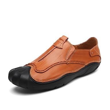 Herrn Schuhe Leder Sommer / Herbst Komfort Loafers & Slip-Ons Walking Schwarz / Braun