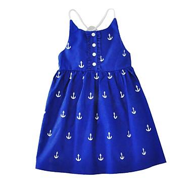 Girl's Dress, Cotton Summer Sleeveless Cartoon Blue