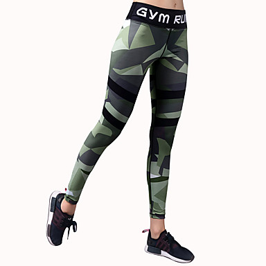 BARBOK Women's Yoga Pants Sports Camouflage Spandex Tights / Bottoms Running, Gym, Workout Activewear Quick Dry, Breathable, Compression Stretchy