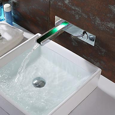 Moderne LED Wandmontage Wasserfall Keramisches Ventil Einzigen Handgriff Zwei Löcher Chrom, Waschbecken Wasserhahn
