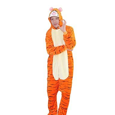 Kigurumi-Pyjamas Tiger Pyjamas-Einteiler Kostüm Flanell Cosplay Für Erwachsene Tiernachtwäsche Karikatur Halloween Fest / Feiertage