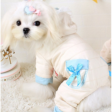 Dog Hoodie / Jumpsuit Dog Clothes Bowknot Pink Down / Cotton Costume For Pets Casual / Daily