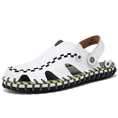Men's Nappa Leather Summer / Fall Comfort Sandals Upstream Shoes White / Black / Light Brown