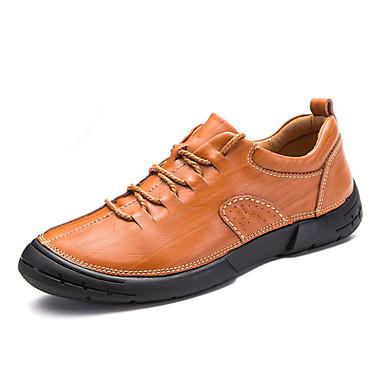 Férfi cipő Bőr Nyár Ősz Kényelmes Félcipők mert Hétköznapi Szabadtéri Fekete Barna