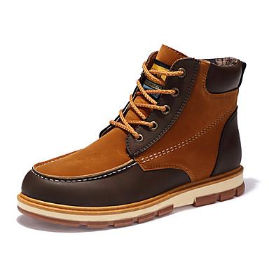 Men's Comfort Shoes Nubuck leather / Fleece Fall / Winter Boots Mid-Calf Boots Black / Yellow / Blue / Split Joint / Outdoor / Fashion Boots / EU40