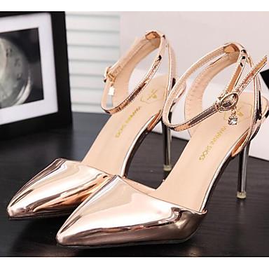 Damen High Heels Komfort Pumps Echtes Leder PU Sommer Normal Gold Silber Grau 10 - 12 cm