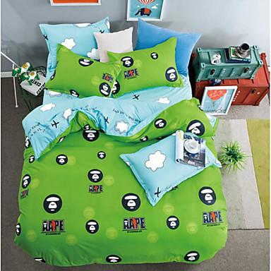 Kartoon 4 Stück Polyester Polyester 4-teilig (1 Bettbezug, 1 Bettlaken, 2 Kissenbezüge)