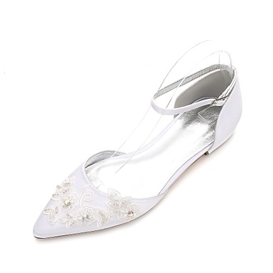 Women's Shoes Satin Spring / Summer Comfort / Mary Jane / D'Orsay & Two-Piece Wedding Shoes Flat Heel Pointed Toe Beading / Flower White