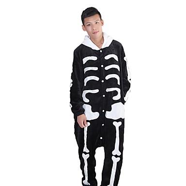 Kigurumi-Pyjamas Geist Skelett Pyjamas-Einteiler Kostüm Flanell Schwarz/Weiß Cosplay Für Erwachsene Tiernachtwäsche Karikatur Halloween