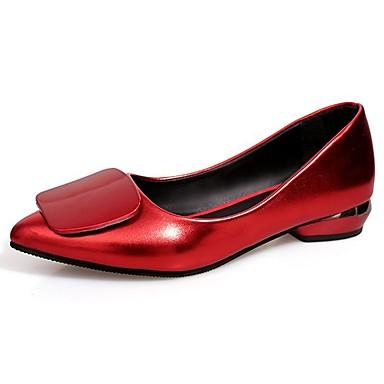 Női Cipő PU Ősz Kényelmes Lapos Alacsony Erősített lábujj mert Ruha Fekete Piros