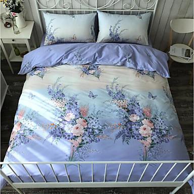 Pflanzen 4 Stück Baumwolle Baumwolle 1 Stk. Bettdeckenbezug 2 Stk. Kissenbezüge 1 Stk. Betttuch