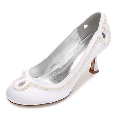 Mujer Zapatos Satén Primavera / Verano Confort Zapatos de boda Dedo redondo Pajarita / Perla / Perla de Imitación Azul / Champaña / Marfil u5POo9rQ