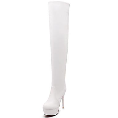 Damen Schuhe Kunstleder Herbst Winter Modische Stiefel Stiefel Walking Stöckelabsatz Spitze Zehe Übers Knie Mit Für Kleid Party &