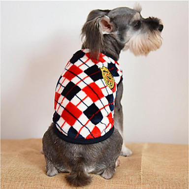 Dog Sweatshirt Dog Clothes Plaid / Check Gray / Yellow / Red Cotton Costume For Pets Men's / Women's Casual / Daily