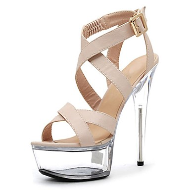 Női Cipő PU Nyár Formai cipő Szandálok Tűsarok Köröm Kristály Csat mert Ruha Party és Estélyi Fekete Bézs