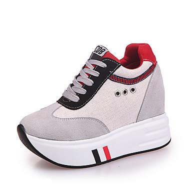 Damen Sneaker Komfort Stoff Frühling Herbst Winter Normal Schnürsenkel Flacher Absatz Schwarz Grau Flach