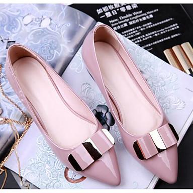 Damen Flache Schuhe Komfort Echtes Leder PU Frühling Normal Schwarz Rosa Flach