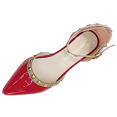 Damen High Heels Komfort Sommer Gummi Walking Schnalle Block Ferse Weiß Schwarz Grau Rot Rosa Unter 2,5 cm