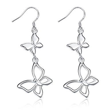 Women's Geometric Drop Earrings - Silver Plated Bowknot Personalized, Luxury, Fashion Silver For Party / Graduation / Daily