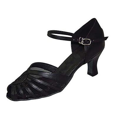 Női Latin cipők Műbőr Szandál Teljesítmény Csat Kubai sarok Személyre szabható Dance Shoes Fekete / Mandula