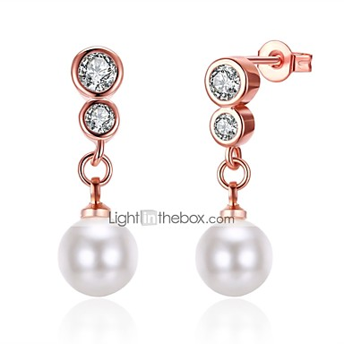 Women's Pearl Tassel / Long Drop Earrings - Imitation Pearl, Zircon, Silver Plated Tassel, Fashion Gold / Silver For Gift / Daily / Casual / Rose Gold Plated / Rose Gold Plated