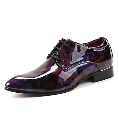 Férfi cipő Bőr Tavasz Ősz Könnyű talpak Esküvői cipők Fűző mert Hivatal és karrier Party és Estélyi Bíbor Kék