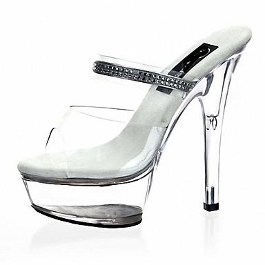 Női Cipő PU Nyár Formai cipő Szandálok Tűsarok Köröm Strasszkő / Kristály mert Ruha / Party és Estélyi Átlátszó