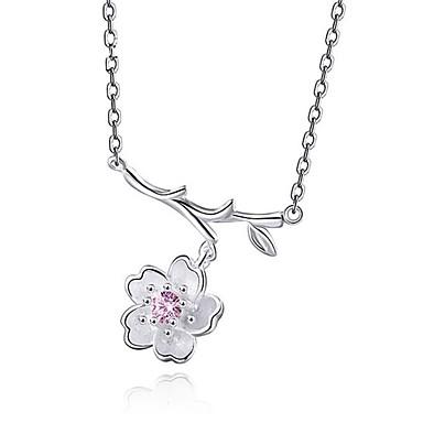 Damen Blume Gestalten Personalisiert Modisch Kragen Kubikzirkonia Sterling Silber Kragen Hochzeit Sonstiges Geschenk Alltag Normal