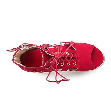 Damen Schuhe Nubukleder PU Sommer Komfort High Heels Für Normal Schwarz Rot Grün