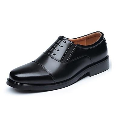 Herrn Schuhe Leder Frühling Herbst formale Schuhe Komfort Outdoor Schnürsenkel für Büro & Karriere Schwarz