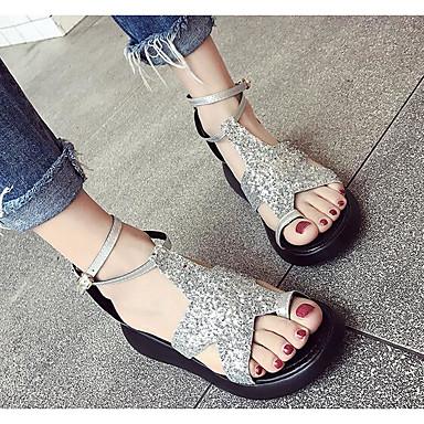 Damen Sandalen Komfort Sommer PU Normal Schwarz Silber 5 - 7 cm