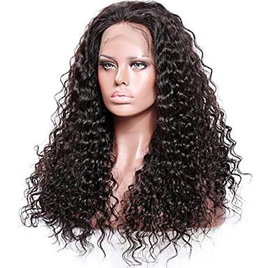 Premierwigs Remy haj Tüll homlokrész Csipke eleje Paróka Göndör Paróka 150% 180% Haj denzitás Természetes hajszálvonal Afro-amerikai paróka 100% kézi csomózású Női Közepes Hosszú Emberi hajból