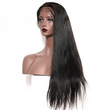 Emberi haj Tüll homlokrész Csipke eleje Paróka Egyenes Paróka Természetes hajszálvonal Afro-amerikai paróka 100% kézi csomózású Női Közepes Hosszú Emberi hajból készült parókák CARA