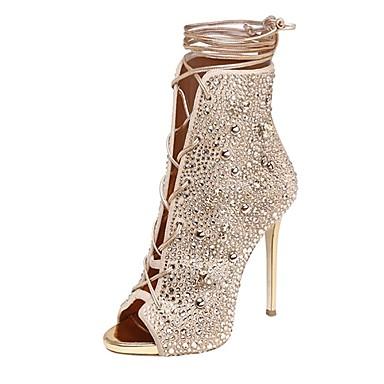 Damen Schuhe Echtes Leder Herbst Winter Pumps Sandalen Peep Toe Strass Für Normal Gold Silber