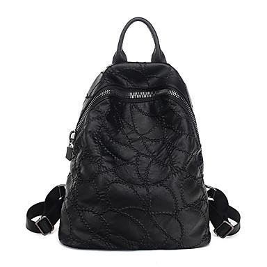 للنساء أكياس كل الفصول جلد الغنم حقيبة ظهر إلى فضفاض أسود