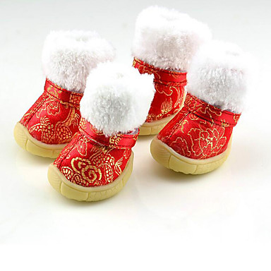 Hund Schuhe und Stiefel warm halten / Schneestiefel / Neujahr Blumen / Pflanzen Rot / Blau / Rosa Für Haustiere