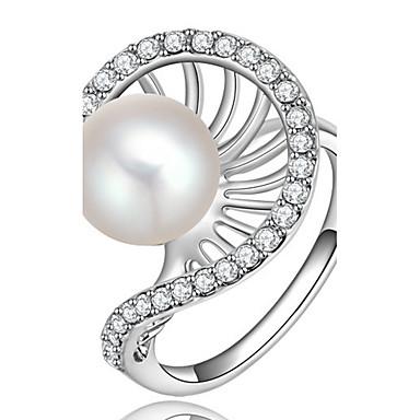Damen Bandringe Imitierte Perlen Strass Basis individualisiert nette Art Luxus-Schmuck Klassisch Elegant Modisch Perle Strass Aleación